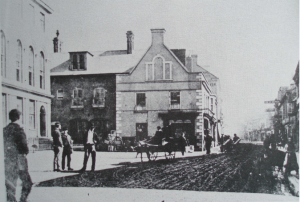 The 'Priory' in the 19th century in the corner of the Corn Market